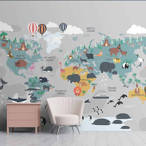 Cute World Map for Children Bedrooms, Customised