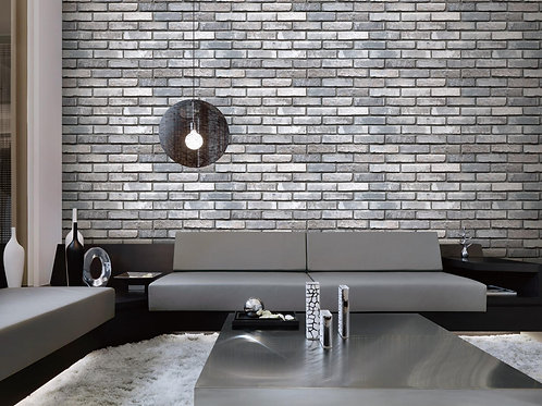 3D White and Grey Brick Looks Wall Wallpaper