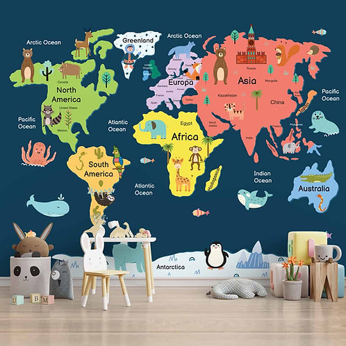 Colorful World Map with Animals for Kids Room Wallpaper
