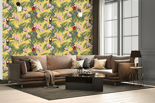 Florals and birds wallpaper