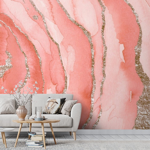 Beautiful Pink, White and Golden 3D Marble Stone Abstract Room Wallpaper