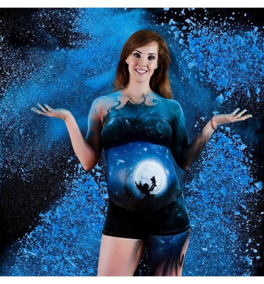Belly piant body paint embarazada México