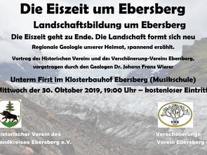 Vortrag - Die Eiszeit in Ebersberg am 30. Oktober 2019