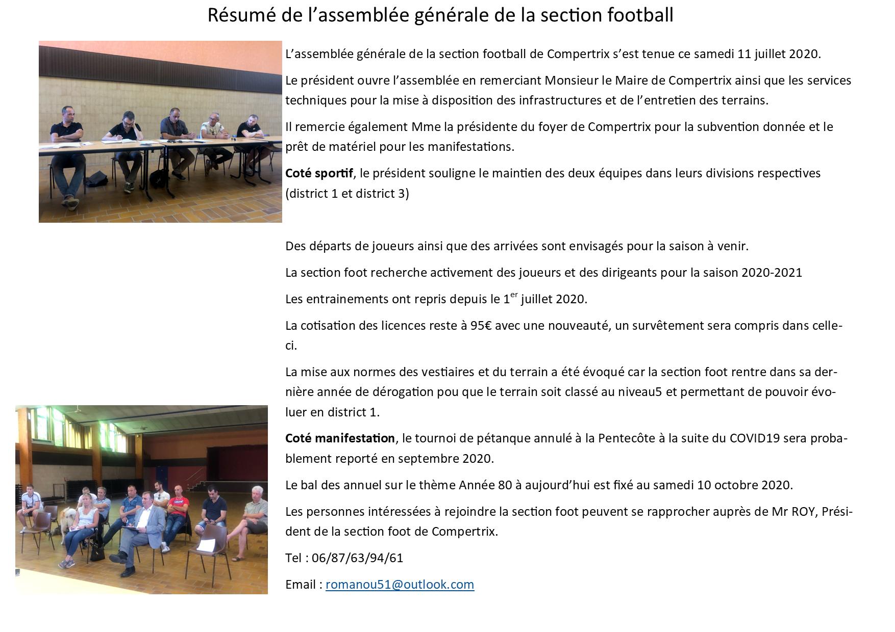 AG Foot Juillet 2020
