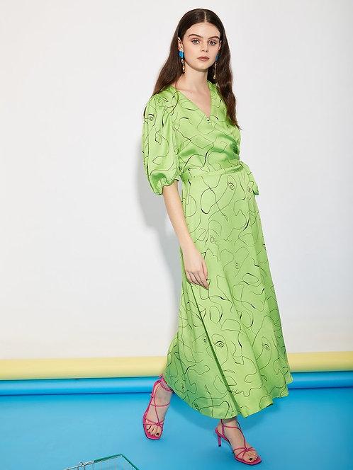 Scribble Midi Wrap Dress
