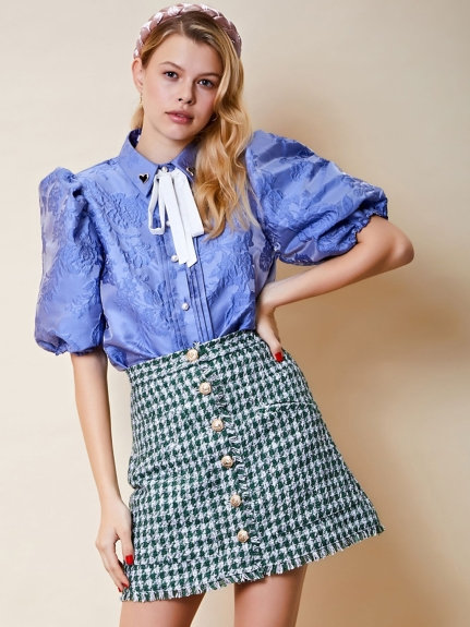 Award Jacquard Puff Sleeve Shirt