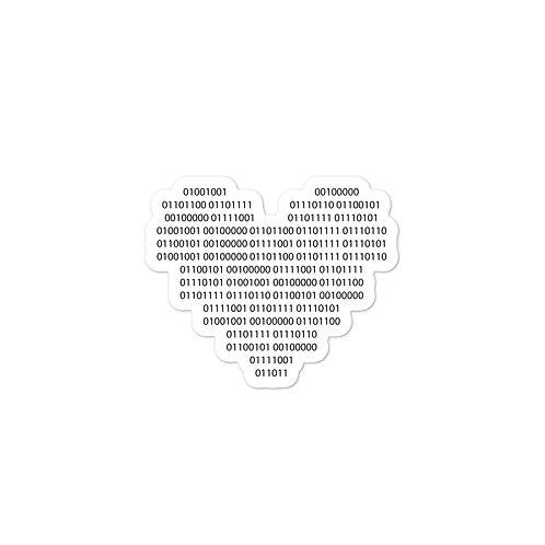 I Love You Binary Code Heart Bubble-free sticker