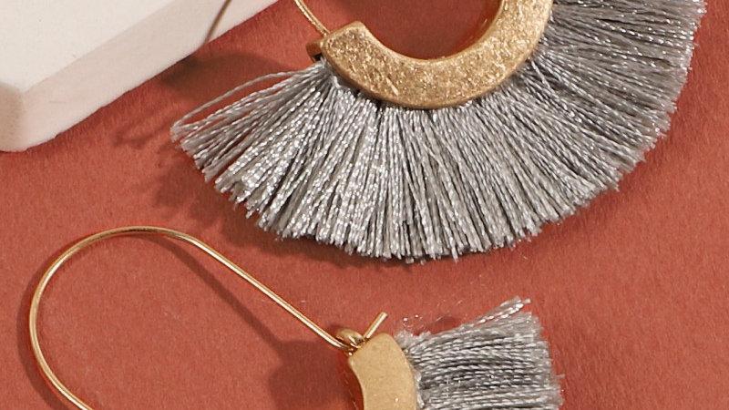Gray Metal Tassel Hoop Earrings