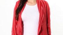 Burgandy and White Striped Blazer