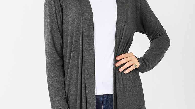 Charcoal Long Sleeved Cardigan