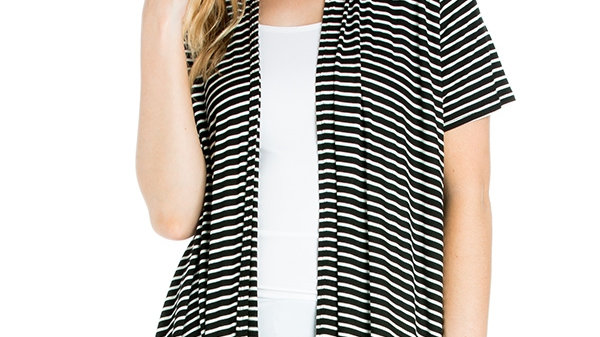 Black and White Small Striped Open Front Cardigan
