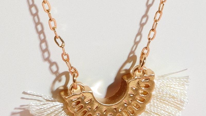 Ivory Semi Circle Metal Tassel Necklace