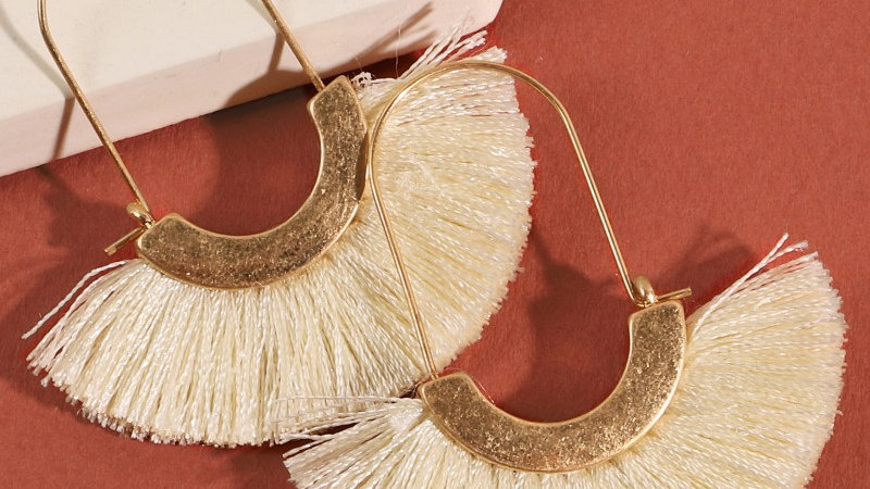 Ivory Metal Tassel Hoop Earrings