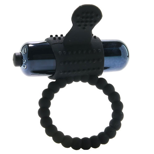 Vibrating Silicone Super Ring in Black