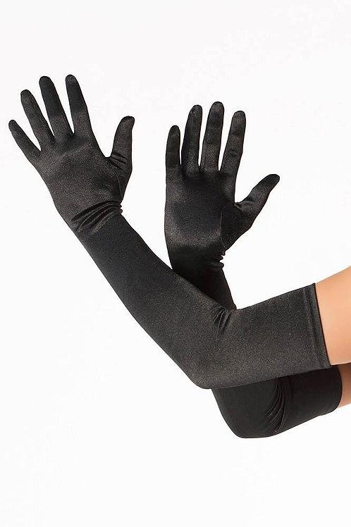Black Satin Lycra Gloves