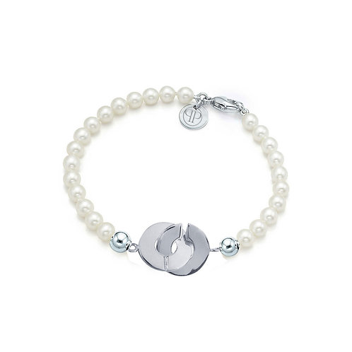 Sterling Silver Cleopatra Clasp Pearl Bracelet
