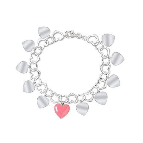Sterling Silver Open Heart Charm Bracelet