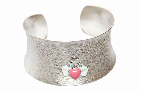 Sterling Silver Brushed finish Cuff Triple Heart