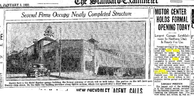 Motor Center opening January 5, 1930. 455 Ogden Ave, Ogden, UT, 84401