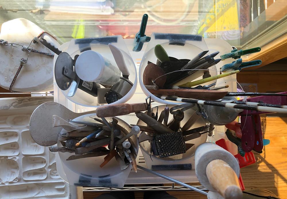 Diana Farfan's sculptor's tools.