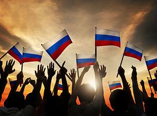 Zwaaiend met de Russische Vlag
