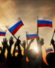 Agitando la bandera de Rusia