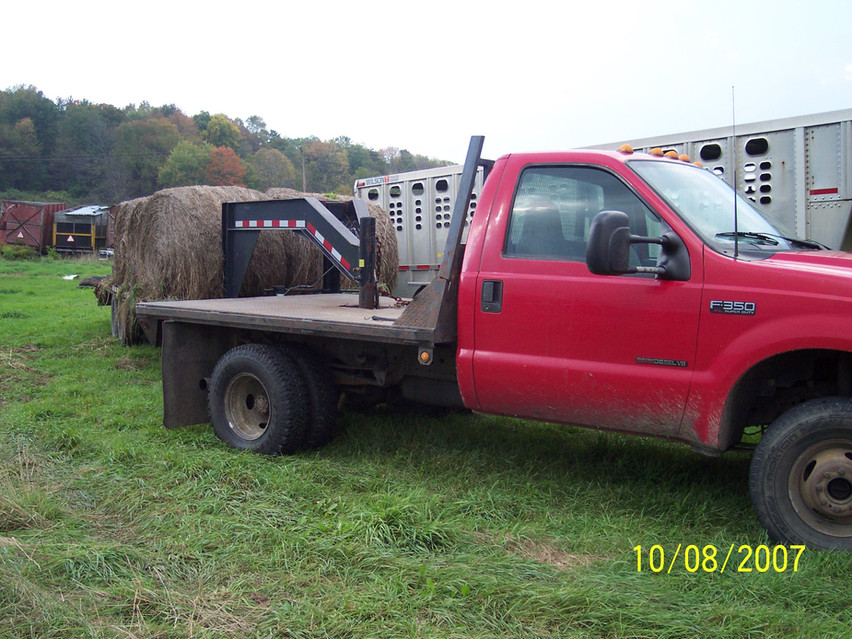 Truck with hay wagon