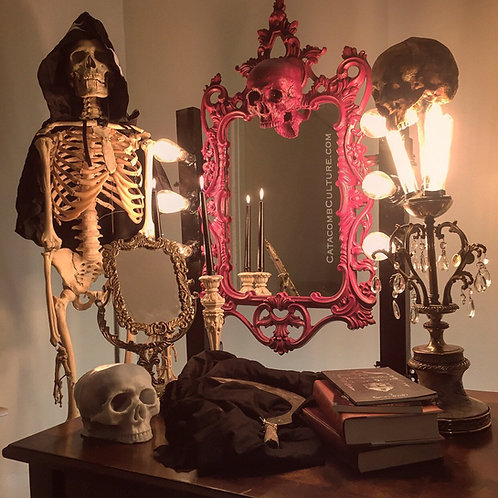 Skull Mirror and Lights Table Mount