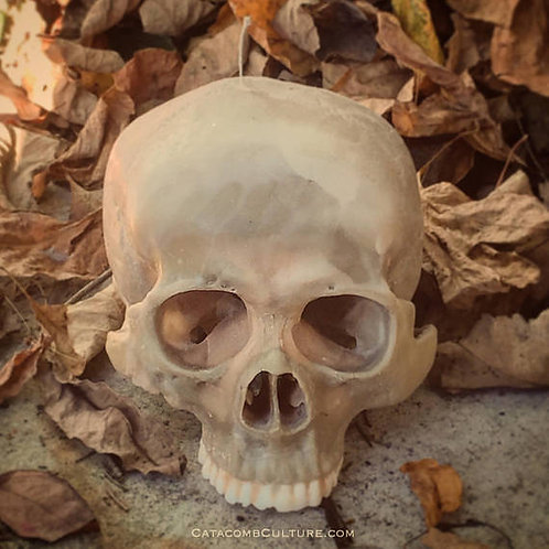Detailed Human Skull Candle
