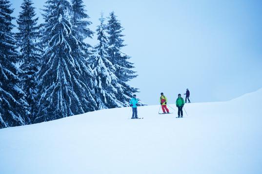 Gruppe der Skifahrer