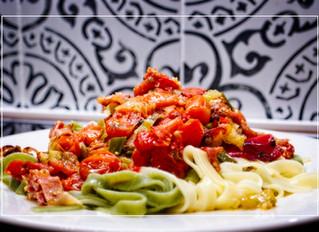 Tagliatelle with Oven-baked Tomato Sugo and Prosciutto di Parma