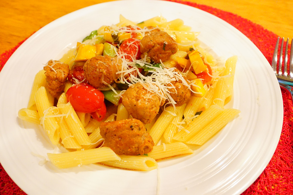 Penne with sweet italian sausage and garden veggies - mostly beige - recipes for kids