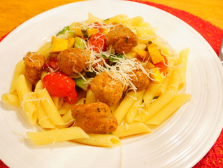 Penne with Sweet Italian Sausages and Garden Vegetables