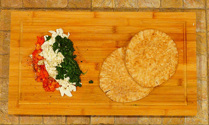 Tomato-(Spinach)-Mozzarella Pita Sandwhich  Mostly Beige Recipe For Kids