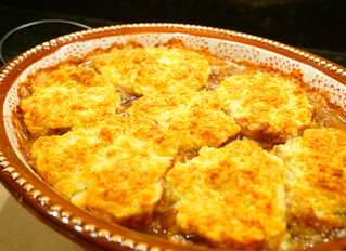 Steak and Mushroom Cobbler with Gruyere-Biscuit Topping