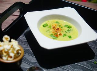 Parmesan-Corn Soup with Chili Popcorn
