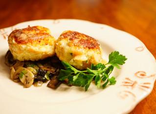 Golden Bread Dumplings on Sherry-braised Wild Mushrooms