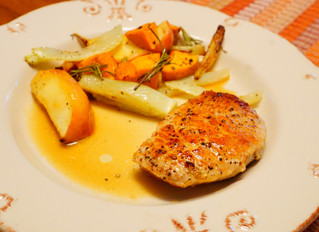 Pork Chops with a Dijon-Apple jus on Roasted Apples, Fennel, and Yams