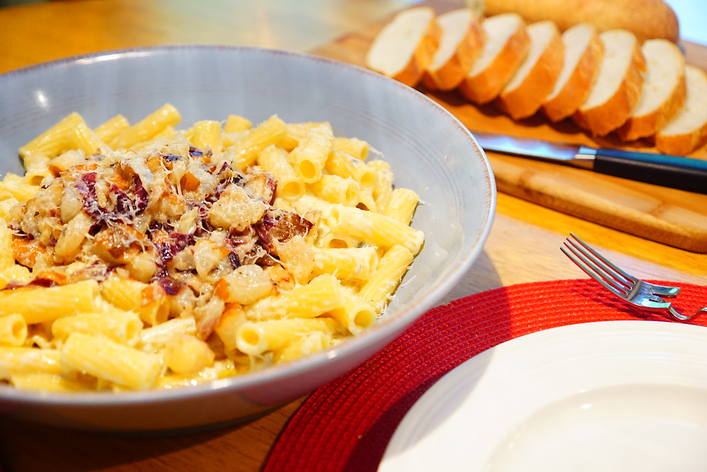 Rigatoni with Pear and Radicchio over Gorgonzola/Marscarpone Mostly Beige Recipes for Kids