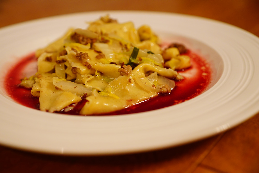 home-made pasta, caramel red wine reduction, napa cabbage, mixed meat. mostly beige recipes for kids