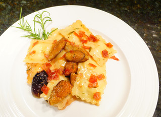Ravioli with Caramelized Figs, Rosemary Browned-Butter, and Crispy Prosciutto