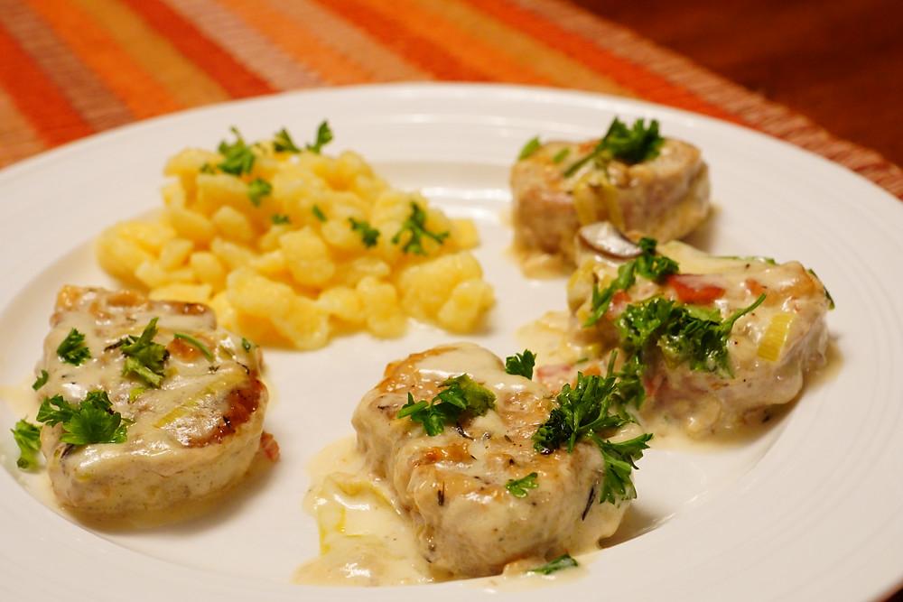 Pork Medallions with Spätzle - Mostly Beige recipes for kids.