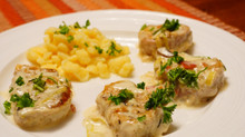 Pork Medallions in Mushroom-Cream Sauce on Spätzle