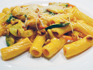 Pasta with Creamy Veggies and Pine Nuts
