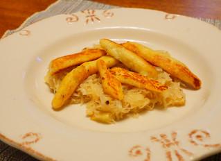 Butter-fried Potato Dumplings with Apple-Sauerkraut.