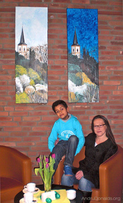 Diego relaxing with his wonderful teacher Marion Funk, 2015