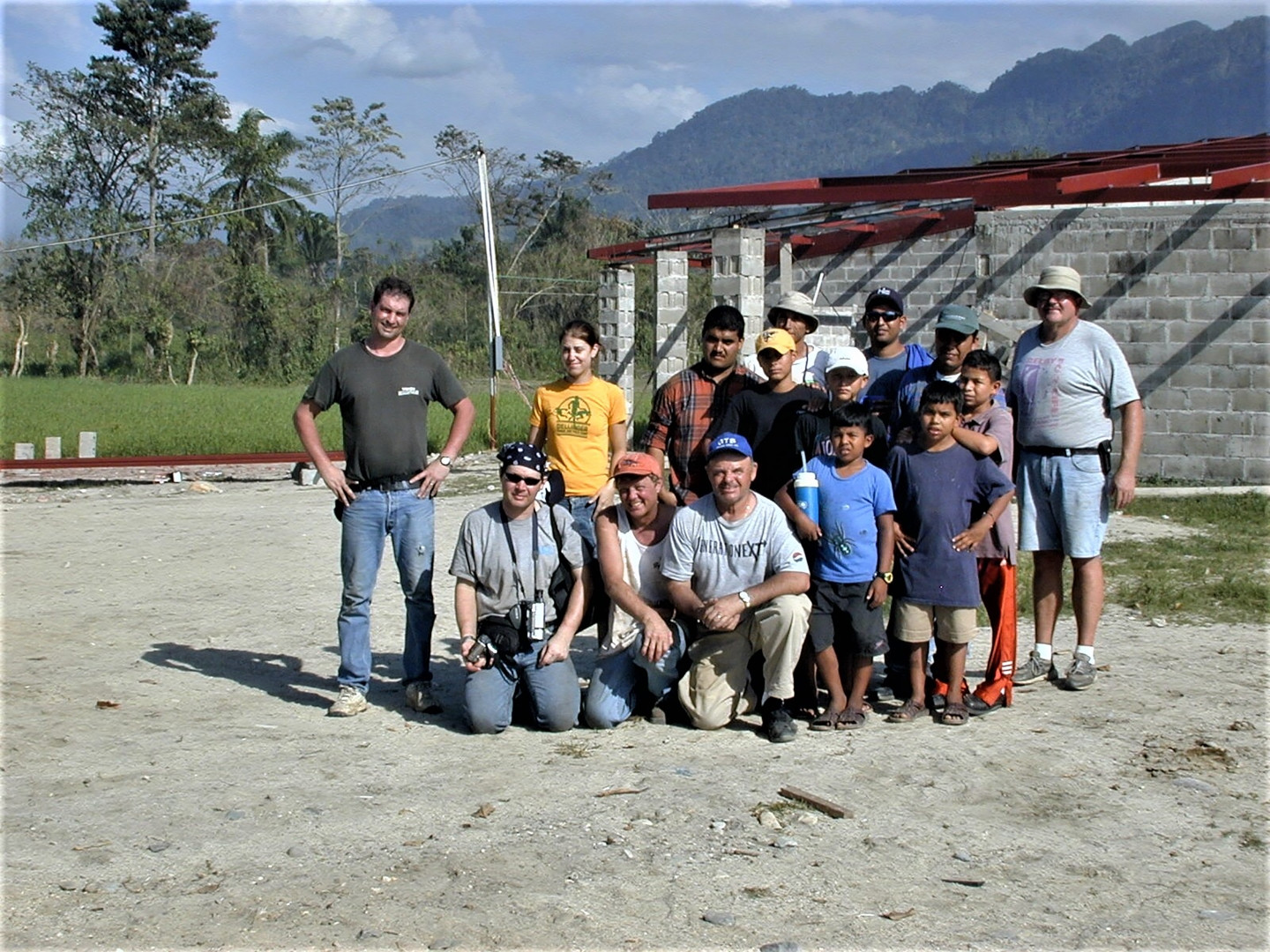 The boys living at the village and others who helped with the construction