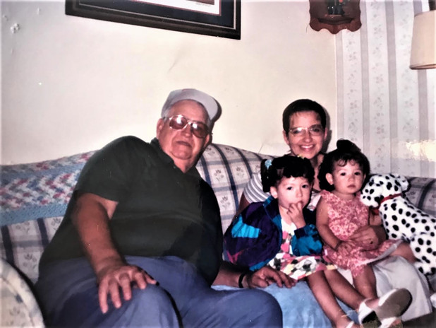 Amy and her dad Isidore Rills with   daughters Sarah and Rachel