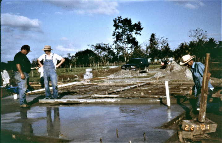 Construction Team from Castle Rock, Washington and Workers from Honduras building the children's village in Tegucigalpita in 2003