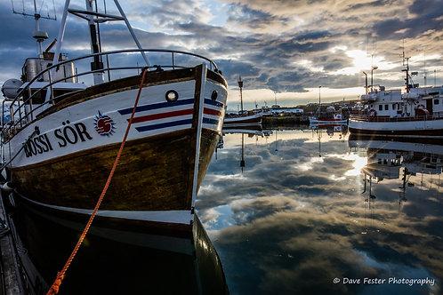 Reflections - the boats of Husavik #1 (Ice-11)